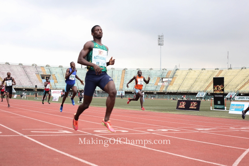 Nathaniel dominated the men's 400m final on Day 2 of competition at the Teslim Balogun Stadium.
