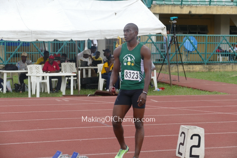 Edwin Peter took the lead leg for team MoC in their men's 4x100m relay