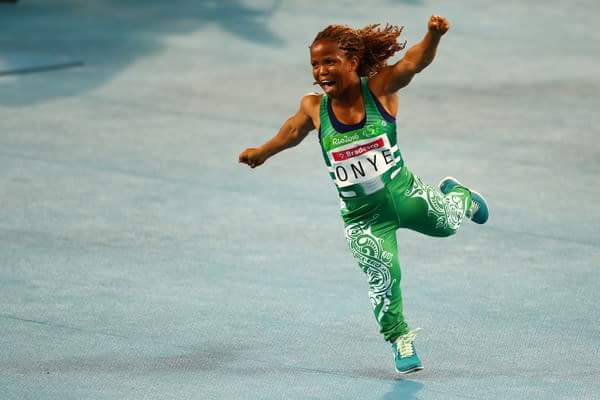 One of the best moments for Team Nigeria. Lauritta Onye wheels out in ecstasy celebrating winning GOLD in women's Shot Put. Photo Credit: @Rio2016