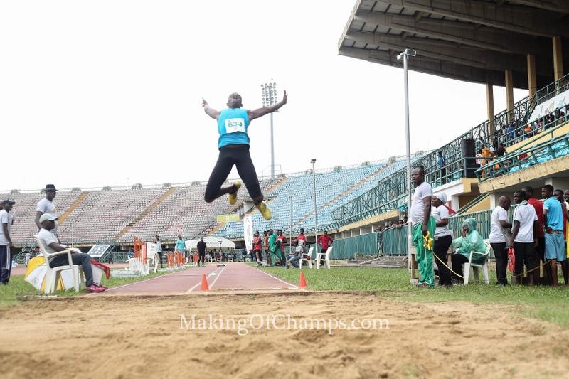 Meyiwa Ineh in full flight competing in the Junior Boys Triple Jump