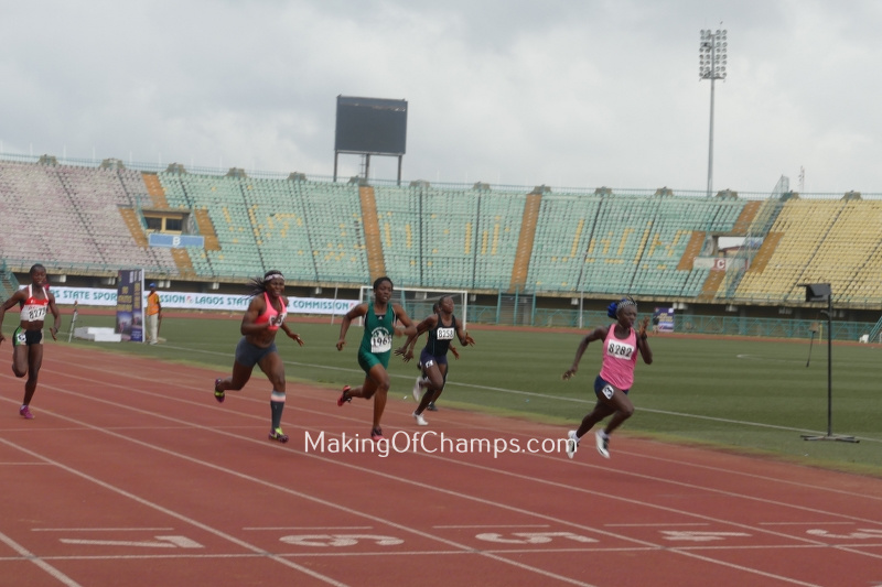 Cecilia Francis comfortably won the women's 100m, with Precious Okoronkwo taking 2nd place and Joy Udo Gabriel 3rd