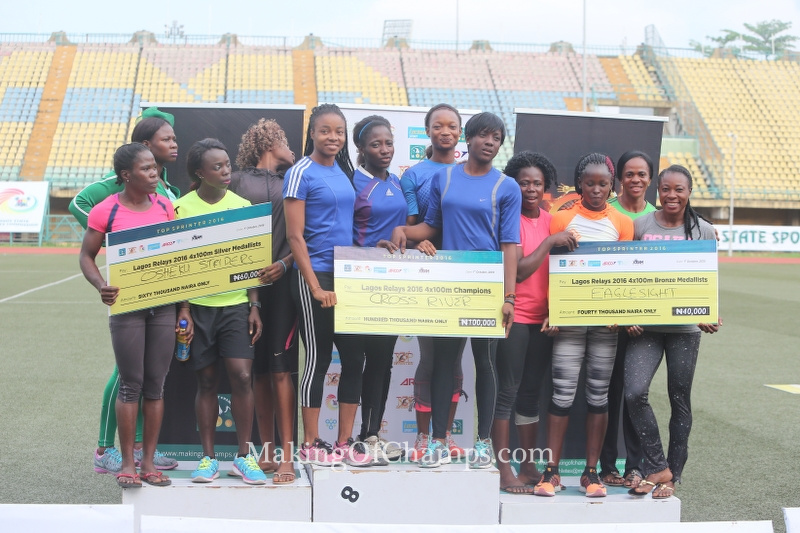 Mercy Ntia-Obong anchored the Cross River team to victory in the women's 4x100m ahead of Osheku Striders (L) and Eaglesight (R).