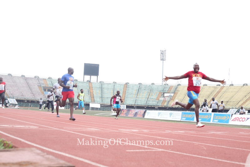 Deji Aliu won the battle for supremacy in the men's 100m Masters race.