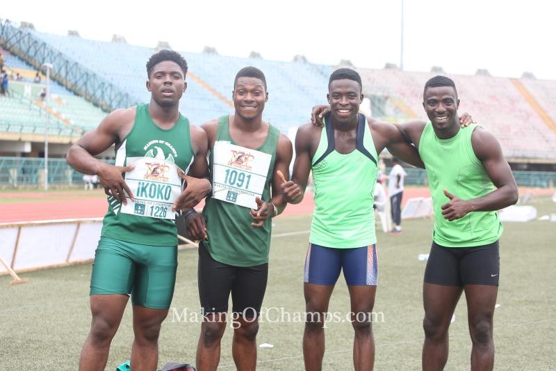 Godspeed's quartet of Onengi Ikoko, Olamide Ajiboye, Abiola Soyemi and Emmanuel Arowolo won the men's 4x100m relay.