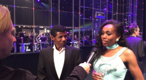 Ayana receiving speaking after receiving her award with fellow Ethiopian and former Olympic champion, Haile Gebrselassie interpreting for her. Photo Credit: @iaaforg