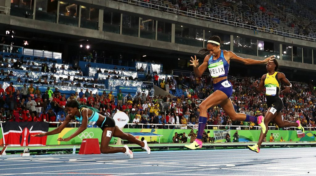 Shaunae Miller's controversial dive secured her the GOLD medal in Rio. Photo Credit: Getty Images