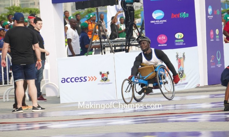 Sefiu Adewale was the first athlete to cross the finishing line in the 10km Wheelchair race.
