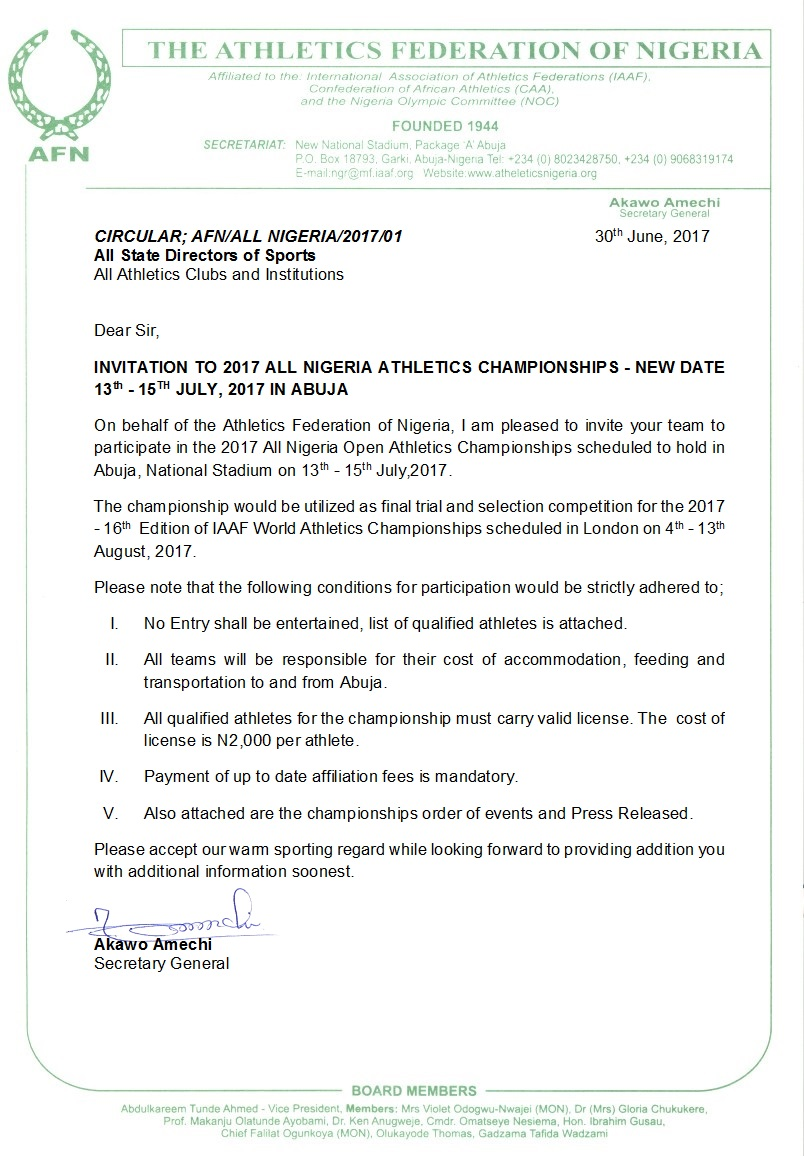 Nigeria invitation letter sle 28 images application letter sle nigeria invitation letter sle afn announces july 13th 15th for 2017 all nigeria track stopboris Gallery